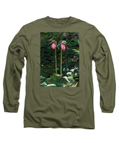 Long Sleeve T-Shirt featuring the painting Lady Slipper by Lynne Reichhart
