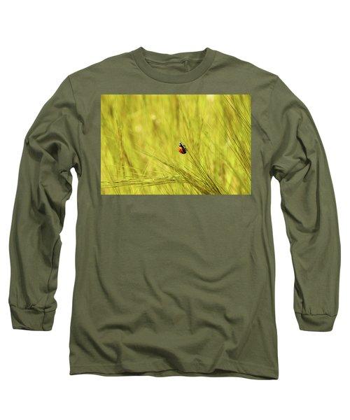 Ladybug In A Wheat Field Long Sleeve T-Shirt by Yoel Koskas