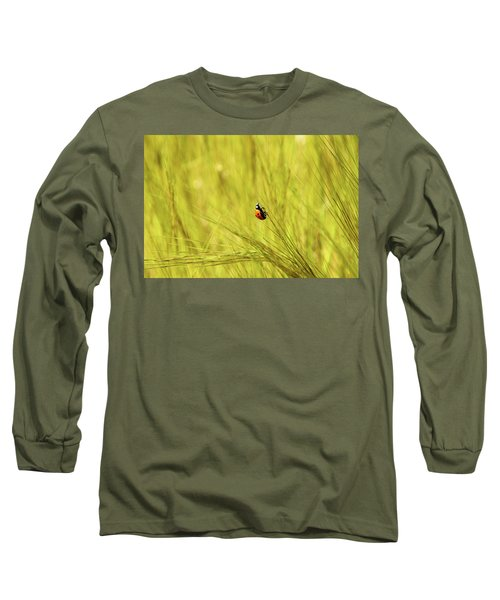 Ladybug In A Wheat Field Long Sleeve T-Shirt