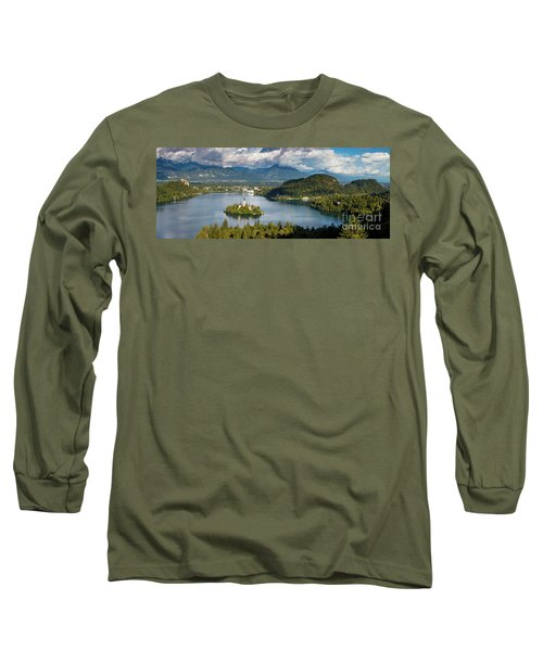 Long Sleeve T-Shirt featuring the photograph Lake Bled Pano by Brian Jannsen