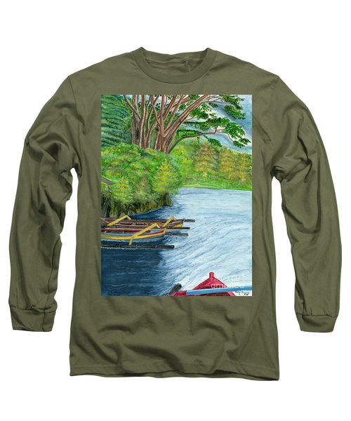 Long Sleeve T-Shirt featuring the painting Lake Bratan Boats Bali Indonesia by Melly Terpening