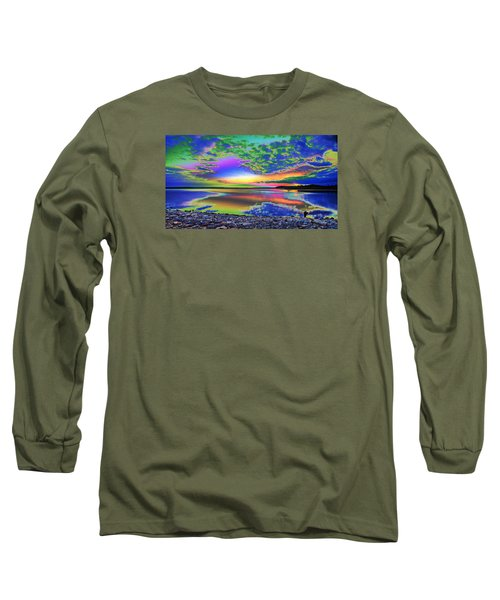 Lake Sunset Abstract Long Sleeve T-Shirt