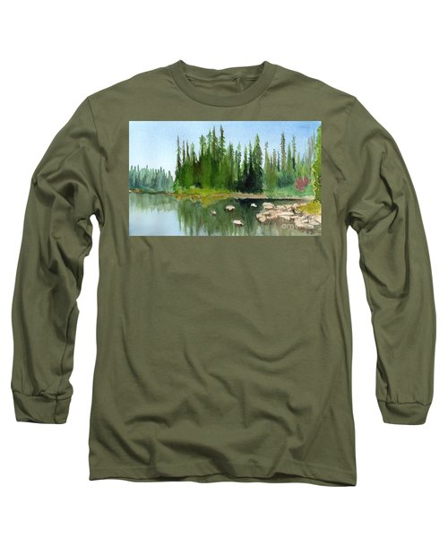 Lake View 1 Long Sleeve T-Shirt by Yoshiko Mishina