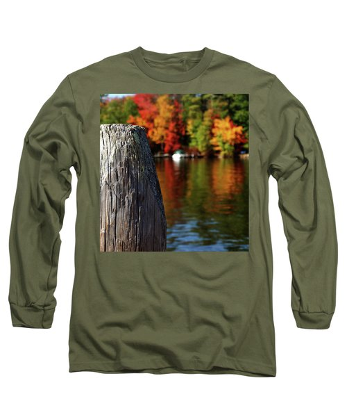 Lake Winnepesaukee Dock With Foliage In The Distance Long Sleeve T-Shirt
