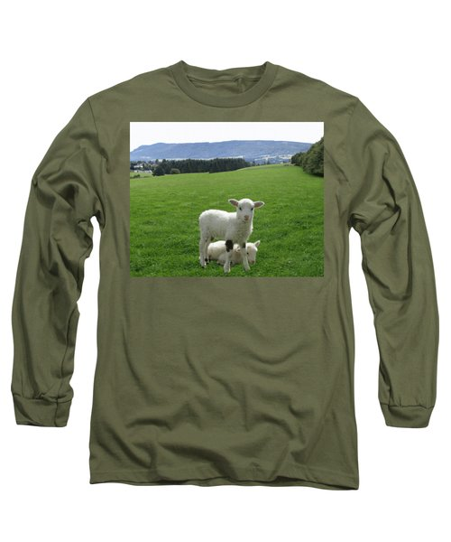 Lambs In Pasture Long Sleeve T-Shirt by Dominic Yannarella