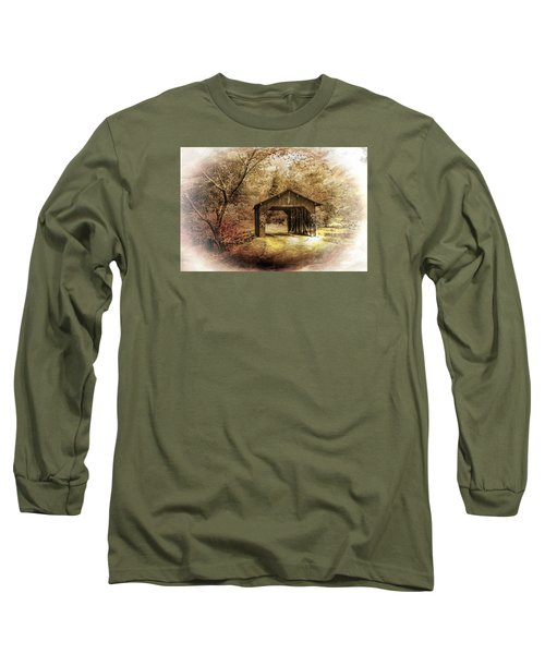 Long Sleeve T-Shirt featuring the photograph Lamplighter Covered Bridge by Judy  Johnson