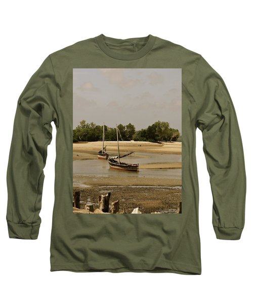 Lamu Island - Wooden Fishing Dhows At Low Tide With Pier - Antique Long Sleeve T-Shirt