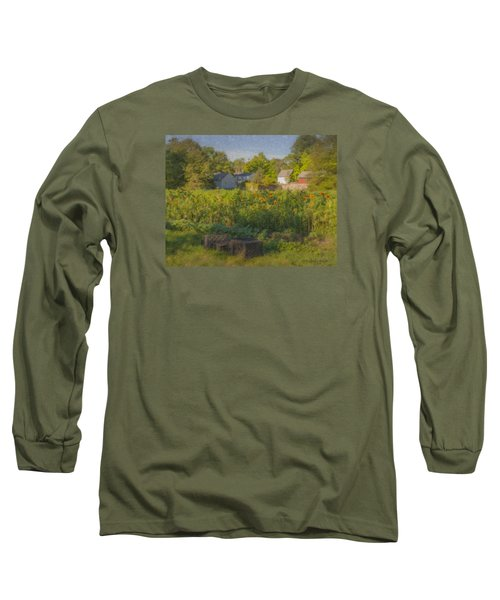 Langwater Farm Sunflowers And Barns Long Sleeve T-Shirt