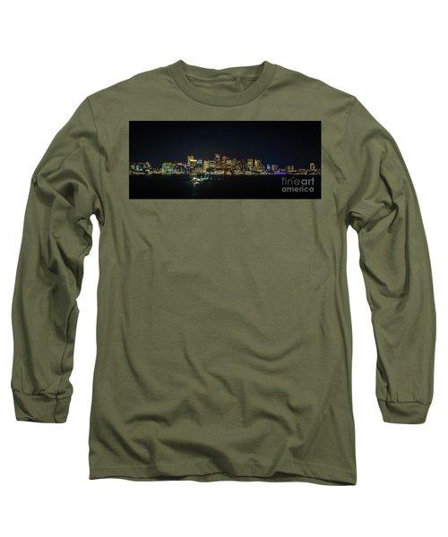 Large Panoramic Of Downtown Boston At Night Long Sleeve T-Shirt