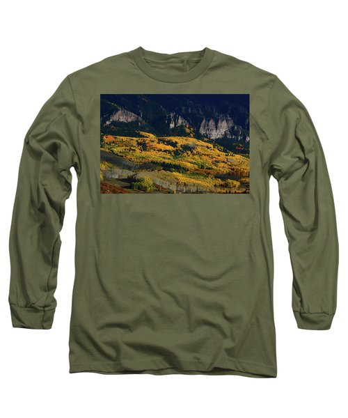 Late Afternoon Light On Aspen Groves At Silver Jack Colorado Long Sleeve T-Shirt by Jetson Nguyen
