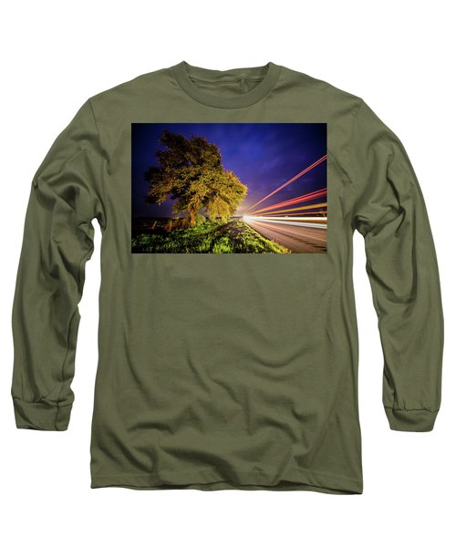 Late Night Texas Country Road Traffic Light Trails Long Sleeve T-Shirt