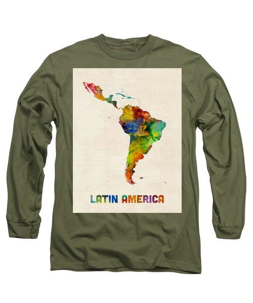 Long Sleeve T-Shirt featuring the digital art Latin America Watercolor Map by Michael Tompsett