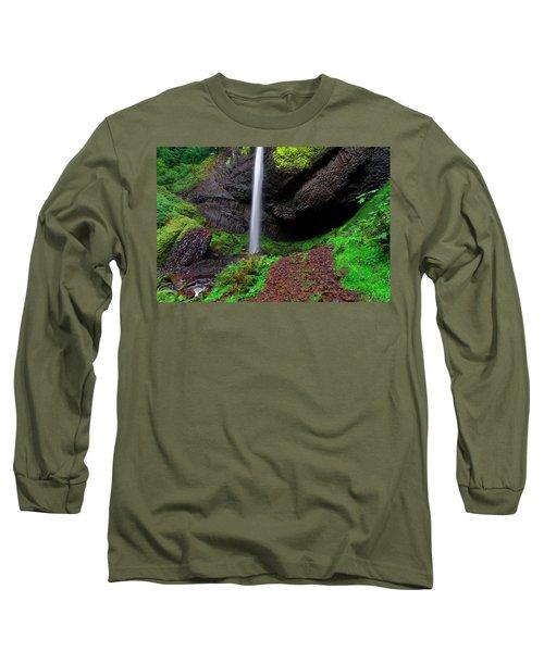 Latourell Falls Oregon Long Sleeve T-Shirt by Jonathan Davison