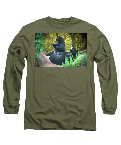 Long Sleeve T-Shirt featuring the painting Laughing Bears by John Haldane