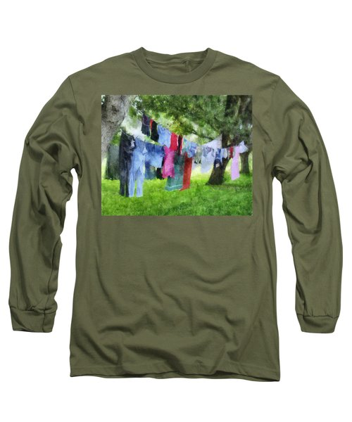 Laundry Line Long Sleeve T-Shirt by Francesa Miller