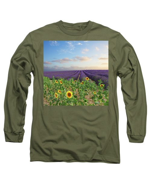 Lavender And Sunflower Flowers Field Long Sleeve T-Shirt