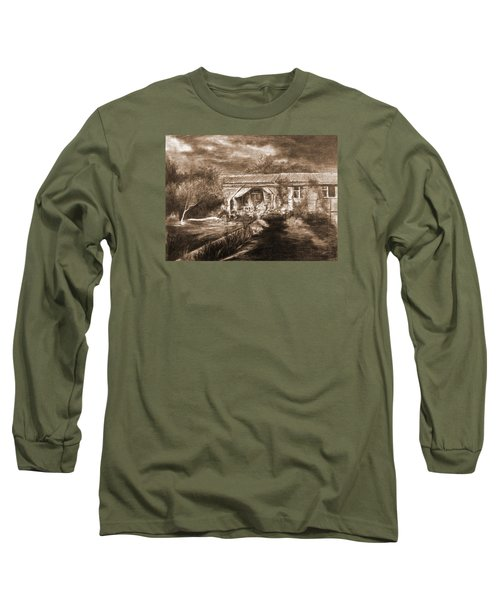 Long Sleeve T-Shirt featuring the drawing Lawn by Mikhail Savchenko
