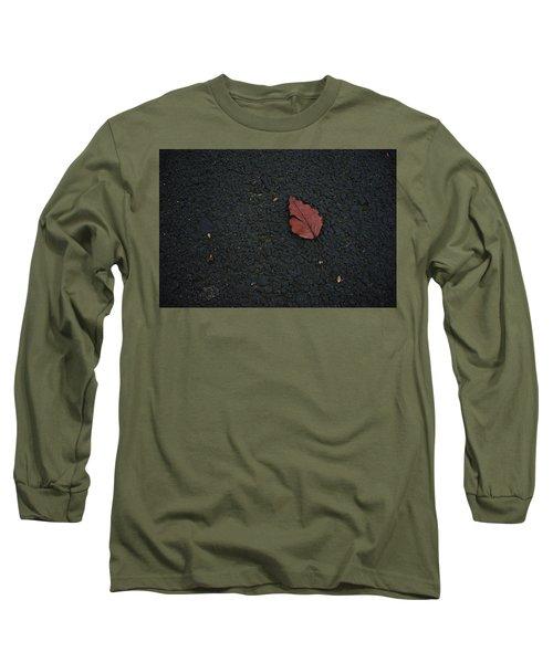 Leaf On Asphalt Long Sleeve T-Shirt by John Rossman