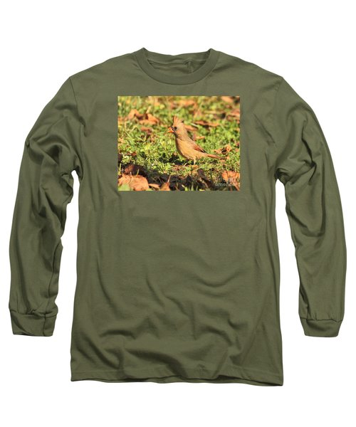 Long Sleeve T-Shirt featuring the photograph Leafy Cardinal by Debbie Stahre