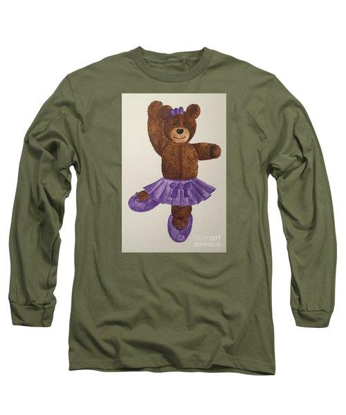 Long Sleeve T-Shirt featuring the painting Leah's Ballerina Bear 1 by Tamir Barkan
