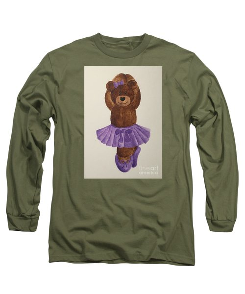 Long Sleeve T-Shirt featuring the painting Leah's Ballerina Bear 3 by Tamir Barkan
