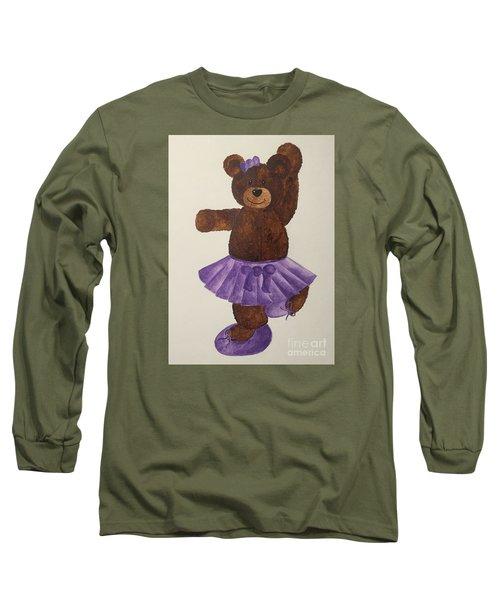 Long Sleeve T-Shirt featuring the painting Leah's Ballerina Bear 4 by Tamir Barkan