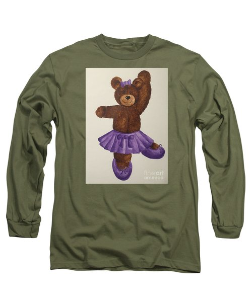 Long Sleeve T-Shirt featuring the painting Leah's Ballerina Bear 5 by Tamir Barkan