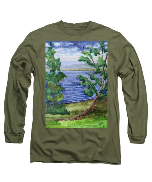 Leaning Tree By Lake Sacandaga Long Sleeve T-Shirt