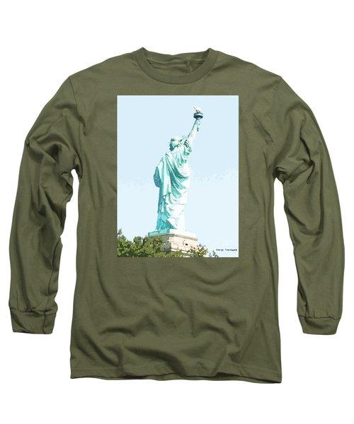 Leap Of Liberty Long Sleeve T-Shirt by Denise Tomasura