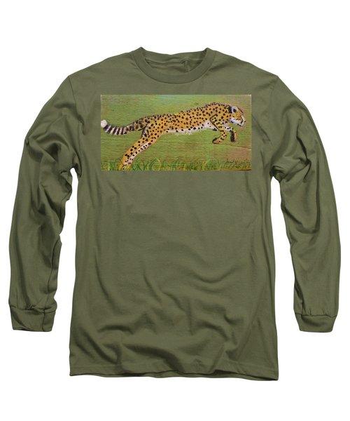Leaping Cheetah Long Sleeve T-Shirt by Ann Michelle Swadener