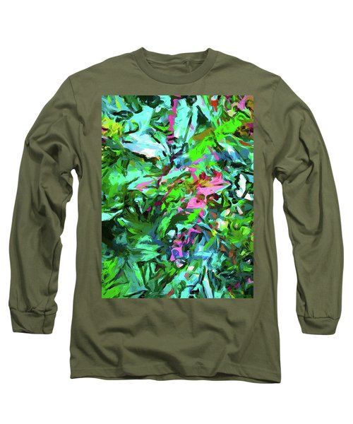 Leaves Buds Green Pink Long Sleeve T-Shirt