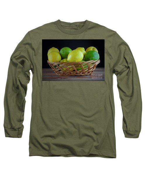 Lemon And Lime Basket Long Sleeve T-Shirt by Ray Shrewsberry