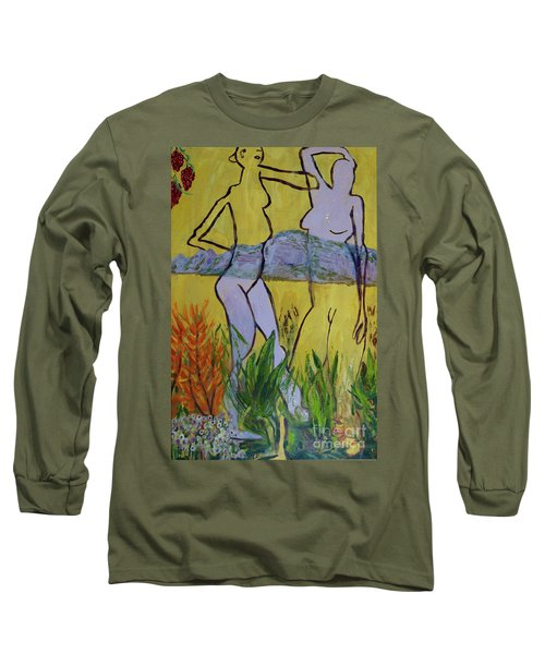 Long Sleeve T-Shirt featuring the painting Les Nymphs D'aureille by Paul McKey