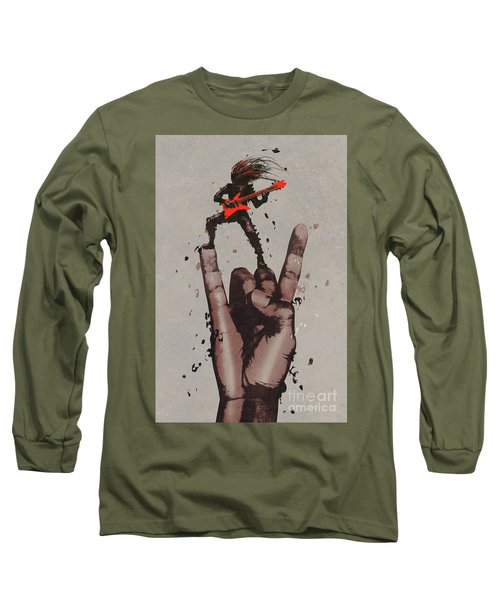 Long Sleeve T-Shirt featuring the painting Let's Rock by Tithi Luadthong