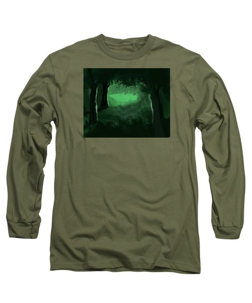 Long Sleeve T-Shirt featuring the digital art Light In The Forest by Walter Chamberlain