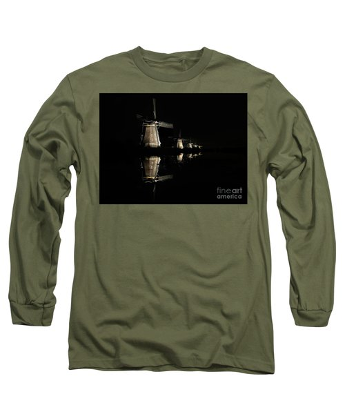 Lighted Windmills In The Black Night Long Sleeve T-Shirt