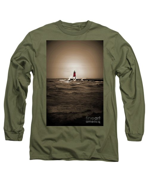 Lighthouse Glow Sepia Spot Color Long Sleeve T-Shirt
