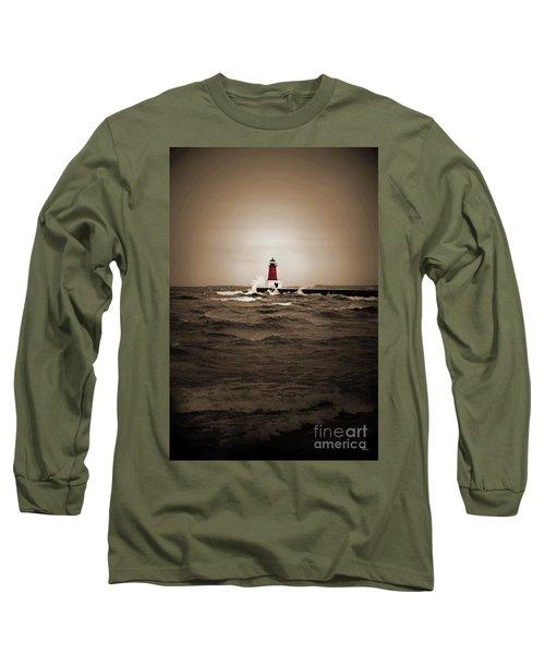 Lighthouse Glow Sepia Spot Color Long Sleeve T-Shirt