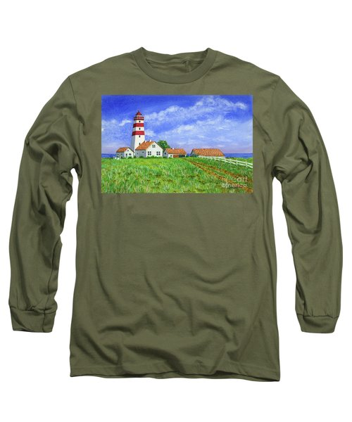 Long Sleeve T-Shirt featuring the painting Lighthouse Pasture by Val Miller