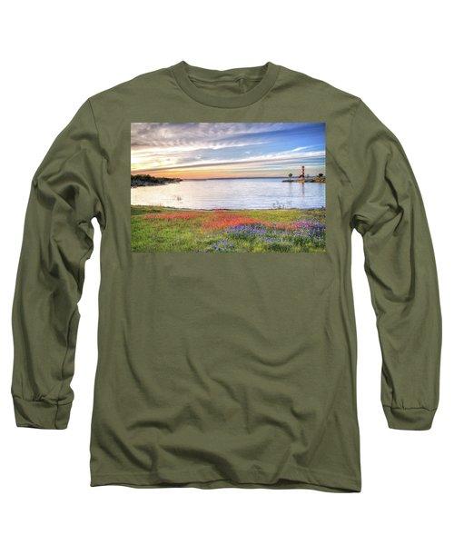 Lighthouse Sunset At Lake Buchanan Long Sleeve T-Shirt by Lynn Bauer