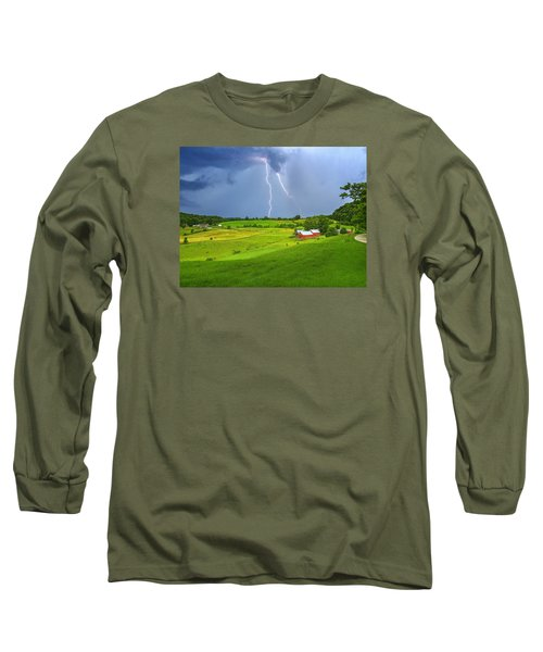 Lightning Storm Over Jenne Farm Long Sleeve T-Shirt by John Vose