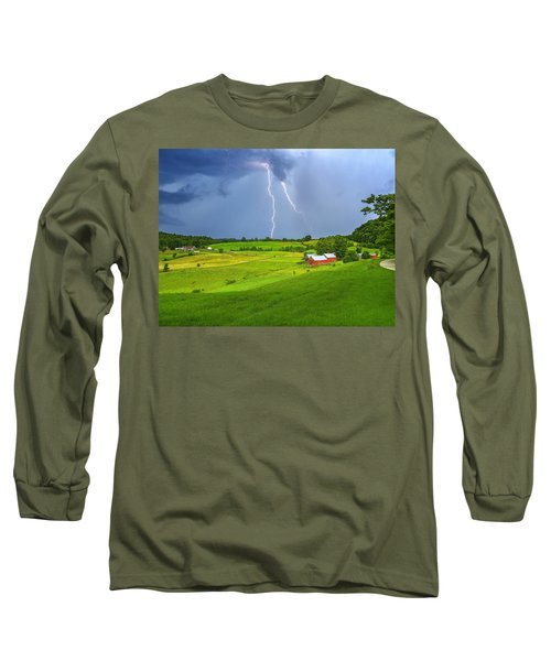 Lightning Storm Over Jenne Farm Long Sleeve T-Shirt