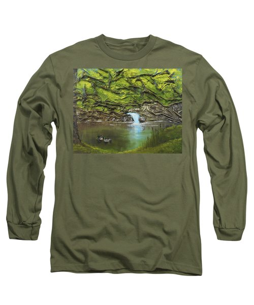 Long Sleeve T-Shirt featuring the mixed media Like Ducks On Water by Angela Stout