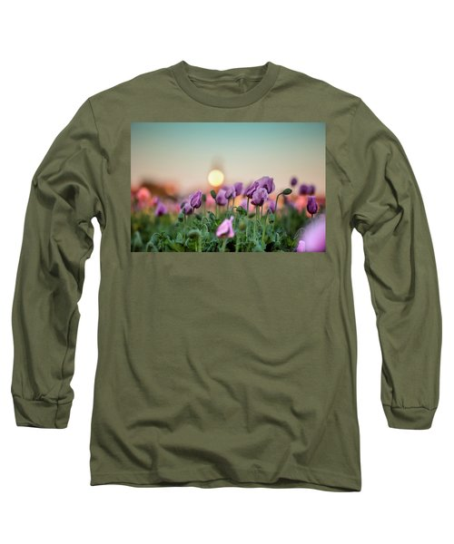 Lilac Poppy Flowers Long Sleeve T-Shirt