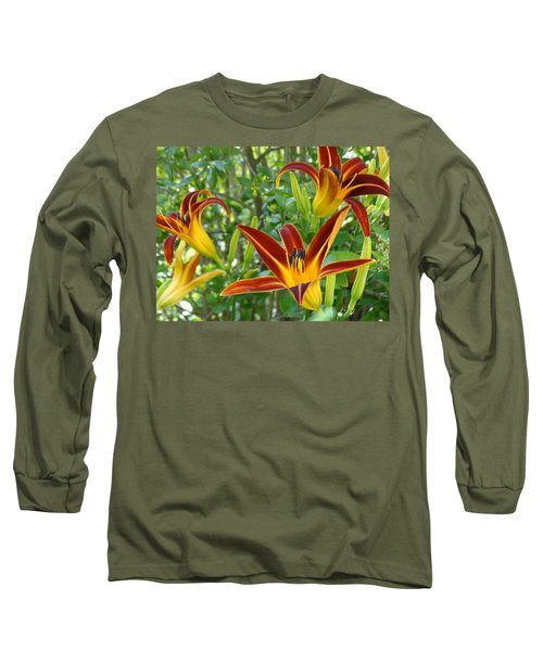 Long Sleeve T-Shirt featuring the photograph Lilies Sunrise by Rebecca Overton