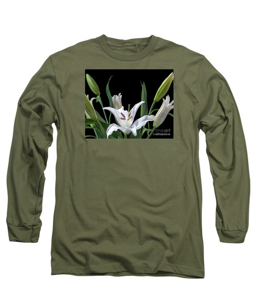 A White Oriental Lily Surrounded Long Sleeve T-Shirt by David Perry Lawrence