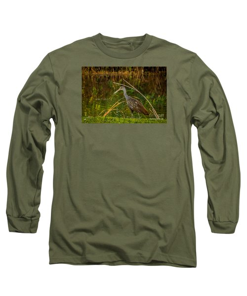 Limpkin At Water's Edge Long Sleeve T-Shirt by Tom Claud