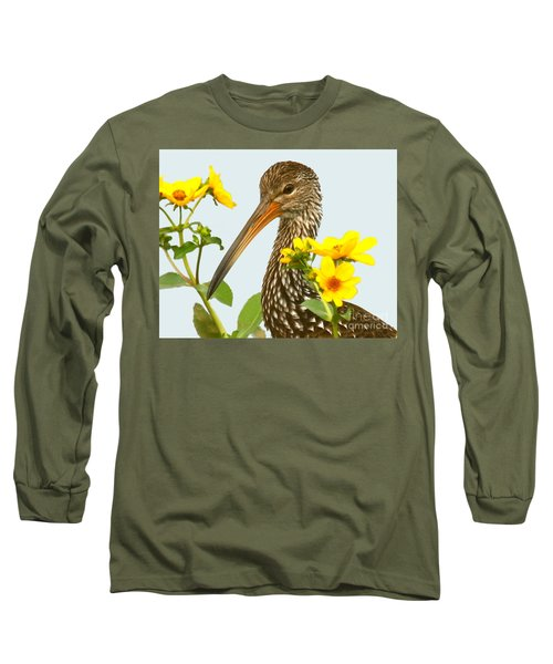 Limpkin In The Flowers Long Sleeve T-Shirt by Myrna Bradshaw