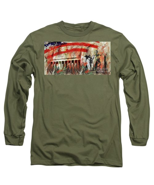 Long Sleeve T-Shirt featuring the painting Lincoln Memorial And Lincoln Statue by Gull G