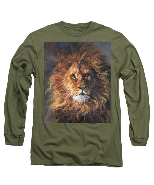 Lion Portrait Long Sleeve T-Shirt by David Stribbling